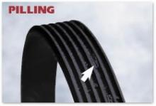 Poly-v belt with rib pilling