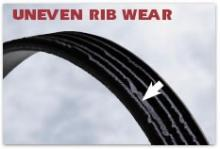 Poly-v belt with rib wear